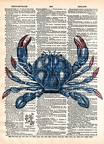 Blue crab nautical decor print on dictionary - Antique Prints Nautical