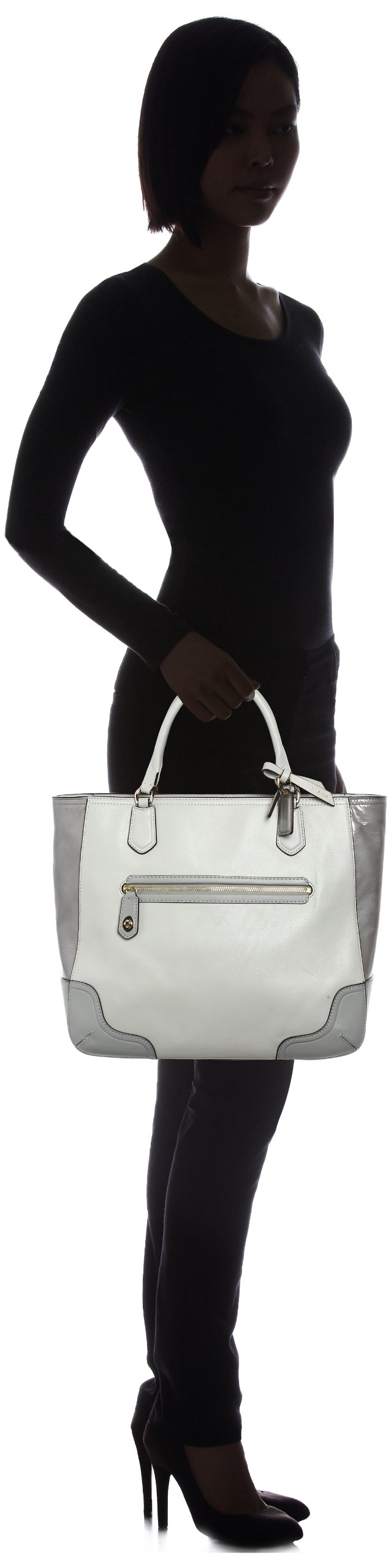 Coach Poppy Colorblock Leather Small Blaire Tote (Light Grey) by Coach (Image #5)