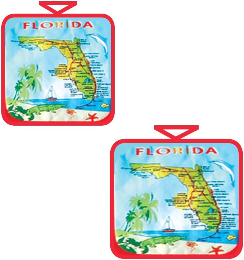 Rockin Gear Pot Holder Oven Mitts Set of 2 - Florida Map Souvenir and Gift - 100% Cotton Machine Washable Hot Pads