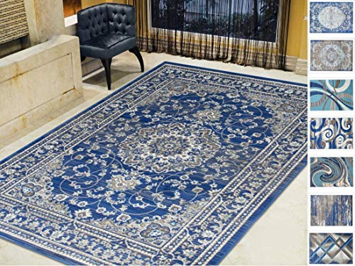 Kashan Navy Area Rug - Handcraft Rugs-Silver/Gray/Navy Blue/Turquoise-Faded, Oriental Distressed Area Rug Vintage Persian Area Rug Abstract,Kashan Persian Rug(5 x 7 feet)