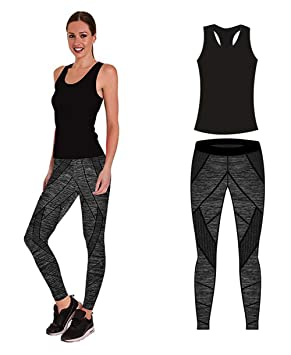 últimas tendencias de 2019 nuevo baratas suave y ligero Conjunto de ropa de yoga o entrenamiento para mujer de Bonjour®, parte  superior y mallas ajustadas Stretch-Fit