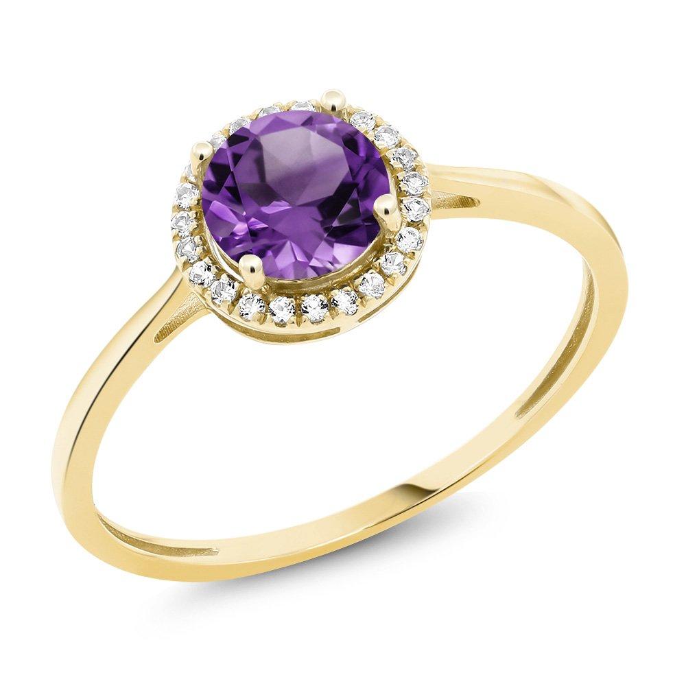 10K Yellow Gold Diamond Engagement Ring Round Purple Amethyst (Ring Size 6)