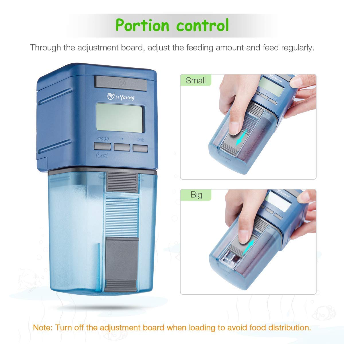 isYoung Aquarium Automatic Fish Feeder Auto Fish Food Dispenser Electronic Timer Feeder for Fish Tank with LCD Display and Feeding Time Setting, Suitable for Aquarium, Fish Tank and Turtle Tank