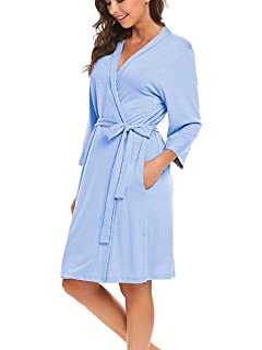 2cd02f46b1 BLUETIME Women Robe Soft Kimono Robes Cotton Bathrobe Sleepwear Loungewear  Short