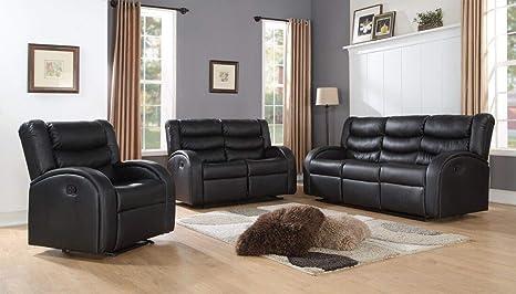 Amazon.com: Lifestyle - Juego de 3 piezas de sofá reclinable ...