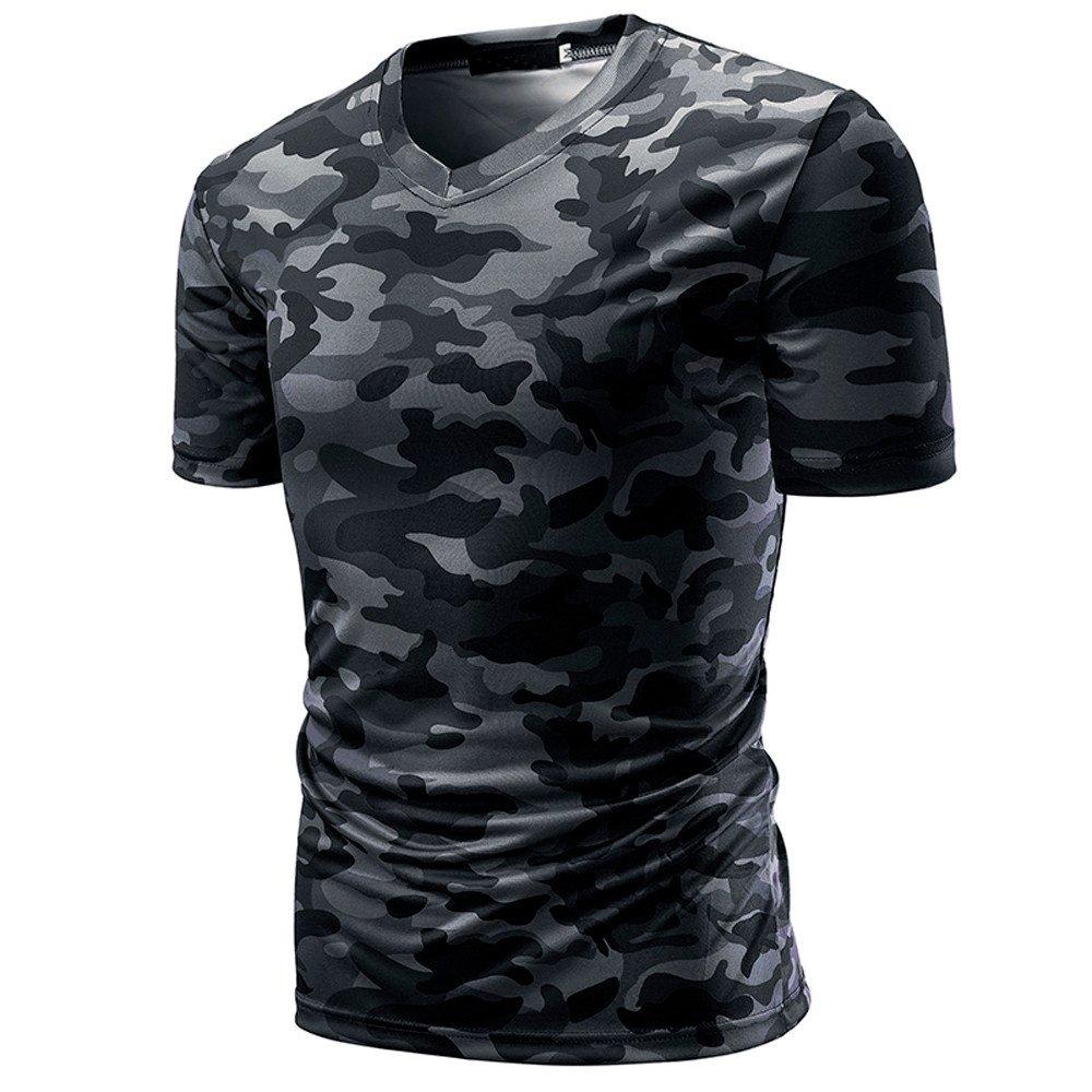 Casuale Classico Sciolto Taglie Forti Mimetica Stampa T-Shirt Semplice Sport V-Collo Manica Corta Maglietta POLPqeD Uomo Moda Estiva Tops