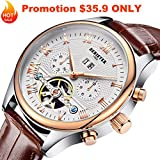 Derieter Automatic Mechanical Skeleton Tourbillon Watch Men Rose Gold Mechanical Wrist Watches