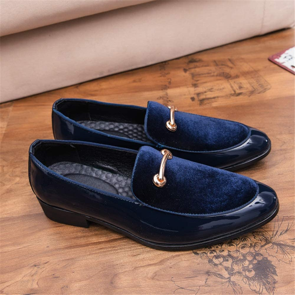 US Color : Blue, Size : 7.5 D Zhukeke Mens Fashion Slip-on Oxford Casual Personality Convenient Anti-Rust Metaldecor Patent Leather Loafer Shoes Wear-Resistant M