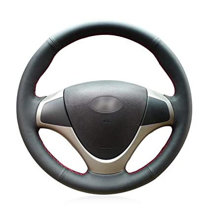 MEWANT Hand-Stitched Black Genuine Leather Steering Wheel Cover Wrap for Hyundai i30 2009 2010