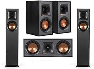 Klipsch 2 Pack R-610F Floorstanding Home Speaker - Bundle with R-41M Bookshelf Home Speakers, R-52C Center Channel Home Speaker,