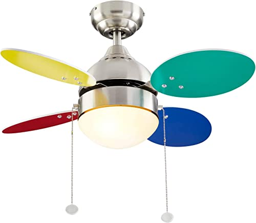 NOMA LED Ceiling Fan with Light 4 Reversible Multi-Color or White Blades Brushed-Nickel Finish with Frosted Glass Light Shade, 30-Inch