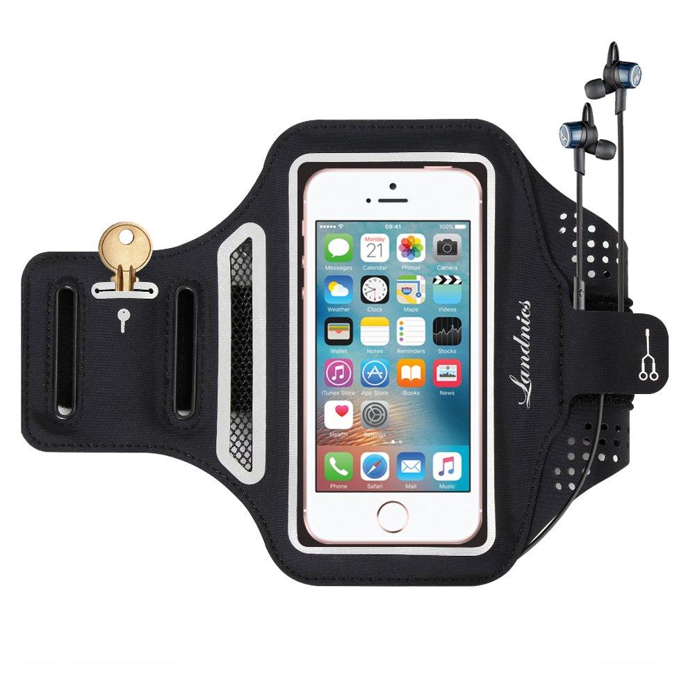 Sports Armband, Landnics Water Resistant Armband 5.5'' Case Adjustable Reflective Velcro With Key Holder & Card Slot&Headphone Jack iPhone X, 8/8Plus, 7/7 Plus, 6/6S/6 Plus