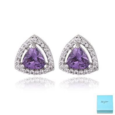 Beautiful Elegant Pair of Small Purple Sterling Silver Flower Stud Earrings with Cubic Zirconia Stone Centre GEeg4