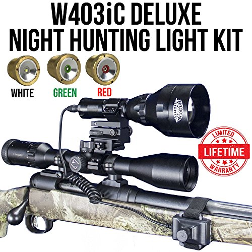 Wicked Lights W403iC DELUXE Night Hunting Kit With Green, Red, and White Intensity Control LED's for Predator, varmint & Hog complete 3 led light kit Deluxe Light Kit