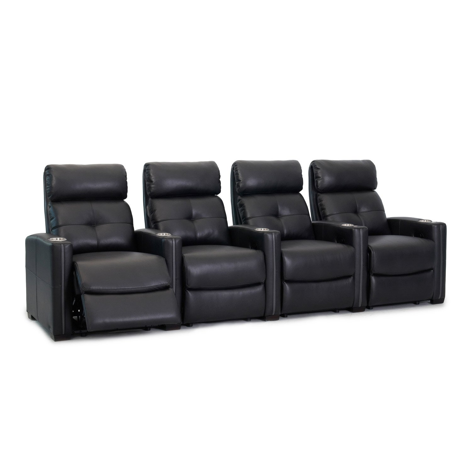 Octane Seating Cloud XS850 Home Theater Chairs - Black Top Grain Leather - Manual Recline - Row 4 Seats - Space Saving Design by Octane Seating
