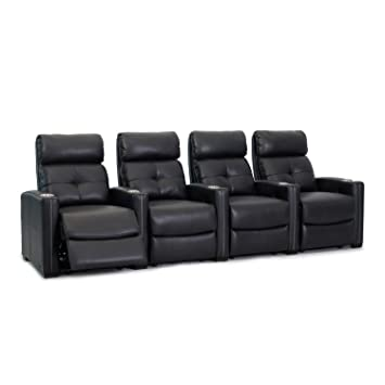 Octane Seating Cloud XS850 | Row 4 Theatre Chairs | Rich Black Bonded  Leather | Chaise Footrest | Lumbar Support | Accessory Dock | Espresso Wood  Feet
