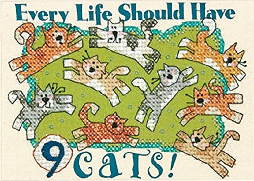 Dimensions Stamped Cross Stitch Kit, Nine Cats