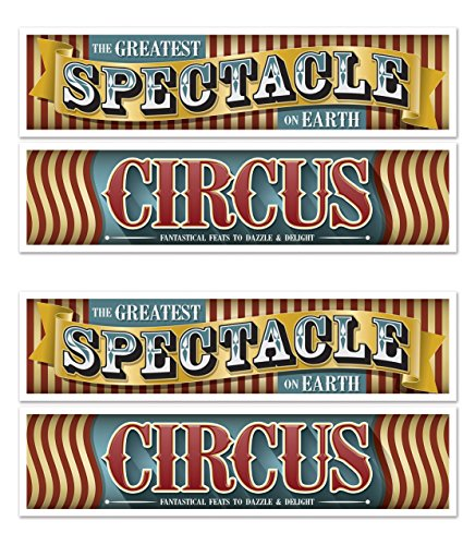Beistle 54979 Vintage Circus Banners 4 Piece, 15