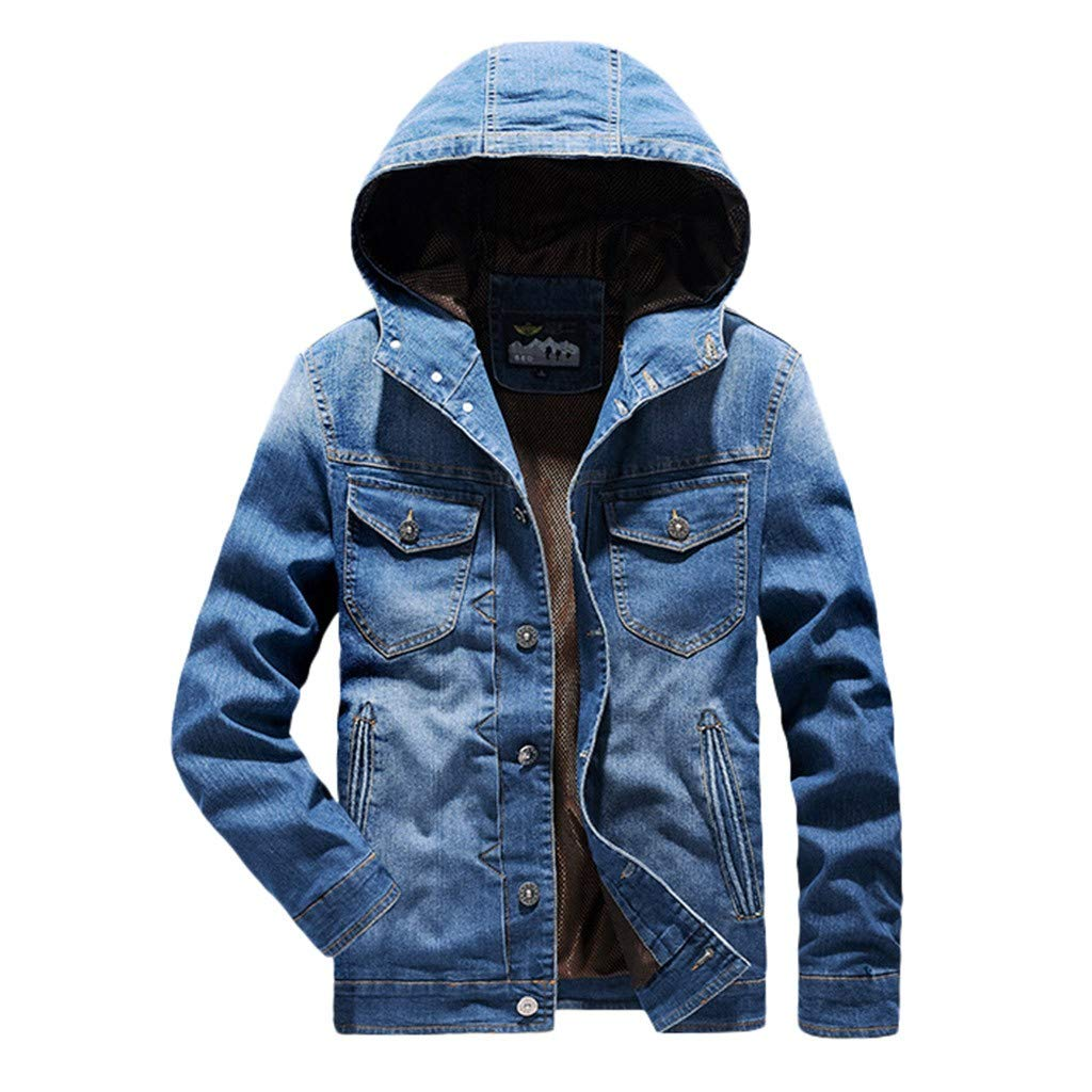 Botrong Men's Autumn Winter Casual Solid Turn-Down Collar Denim Hooded Jacket Coat (Blue,L) by Botrong