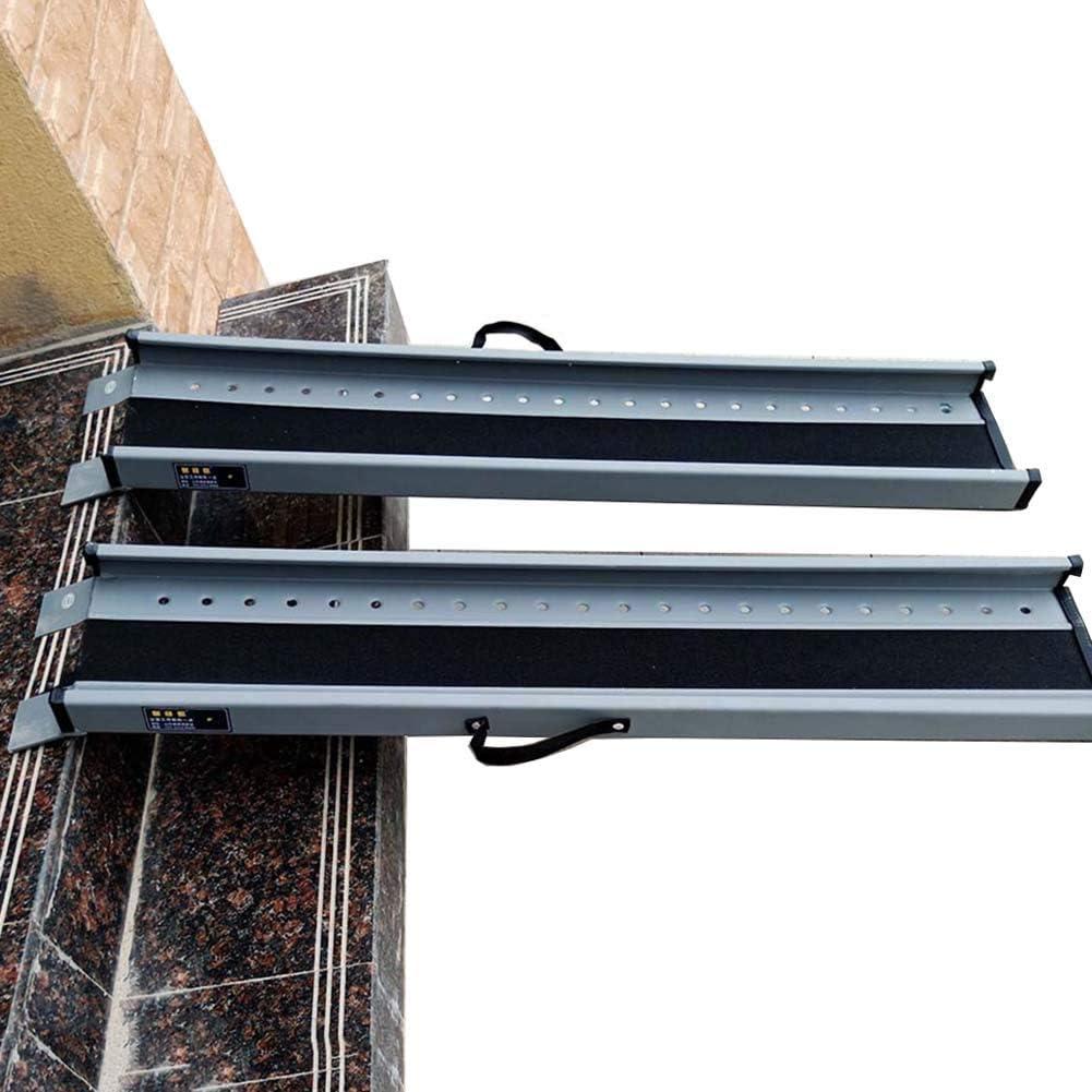 JLXJ Rampas Portátil Aluminio Límite Rampa para Silla de Ruedas, para Escaleras de Porche al Aire Libre, Superficie de Capa de Arena Antideslizante (Size : 60cm(2ft))