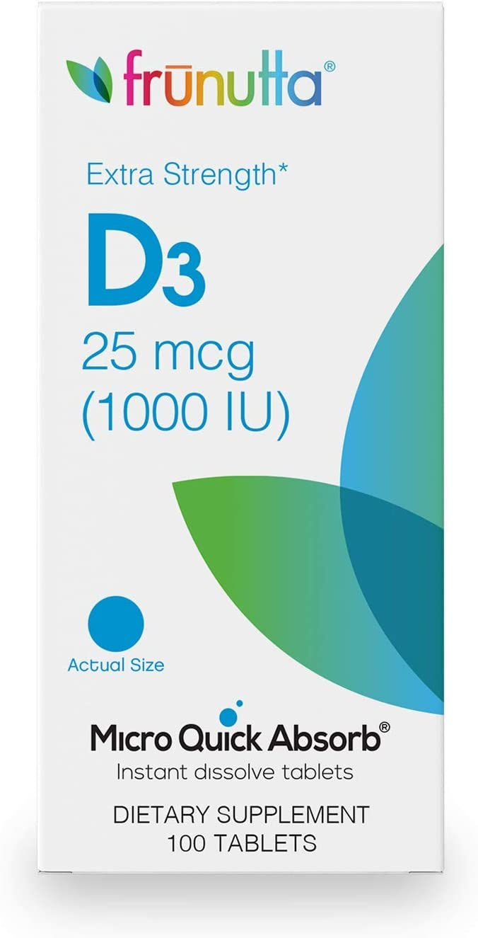 Frunutta Vitamin D3 1000 IU, Under The Tongue Instant Dissolve Tablets, 3 Month Supply, Proudly Made in USA
