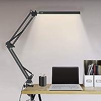 Elekin lampa biurkowa LED, z zaciskiem, lampa energooszczędna, 10 poziomów jasności i 3 tryby pracy, ramię wychylne…