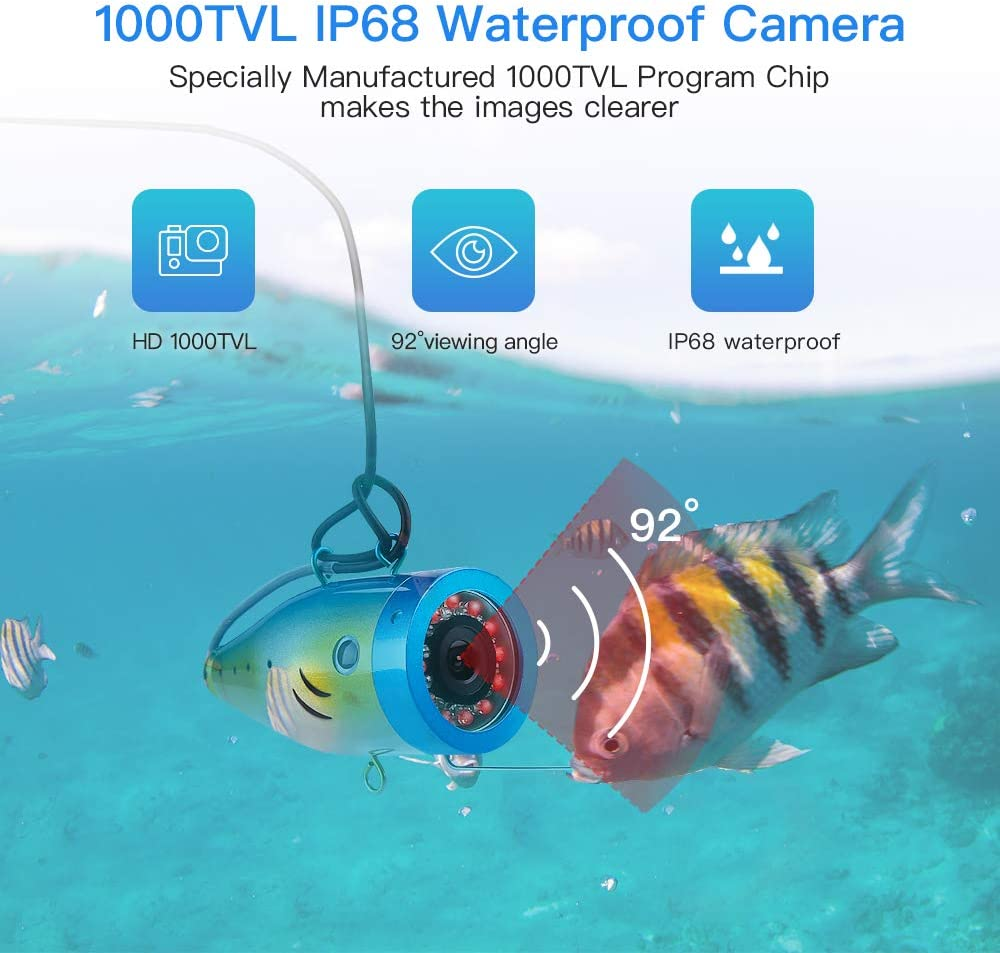 98ft Cable Eyoyo 9 Inch Underwater Fishing Camera Video Fish Finder 1000 TVL LCD Monitor Waterproof Camera Adjustable Infrared /& White Light for Ice Lake Sea Boat Kayak Fishing 30m