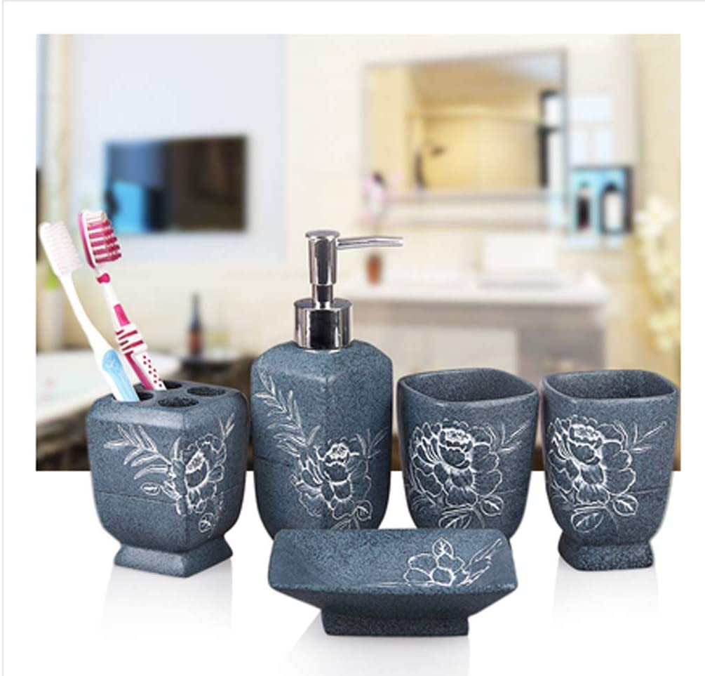 Romantic 5pcs Resin Bathroom Accessories Soap Dish Cup Toothbrush Holder Set Bath Accessory Sets Home Garden