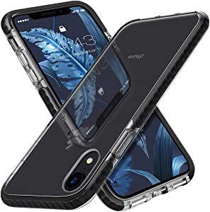 MATEPROX iPhone XR Case Clear Thin Slim Anti-Yellow Anti-Slippery Anti-Scratches Cover Shockproof Bumper Case for iPhone XR 6.1''(Black)