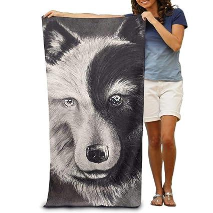 e4c49c114fe10 Yisliferunaz Yin Yang Wolf Tattoo Art Beach Towels Luxury 100% Polyester  Swim Bath Sheets Large