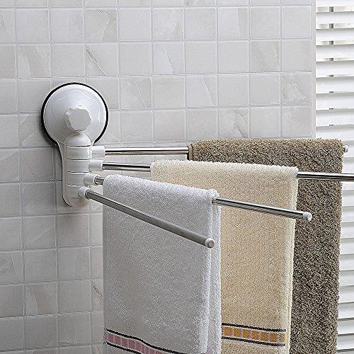 4 Arm 180 Degree Rotation Towel Racks, Bathroom Kitchen Brushed Nickel Chrome Stainless Steel White Towel Bar,Wall-Mounted Organizer Towel Holder,Sucker Modern Fashion Space Saving (Brushed Chrome Swing Arm)