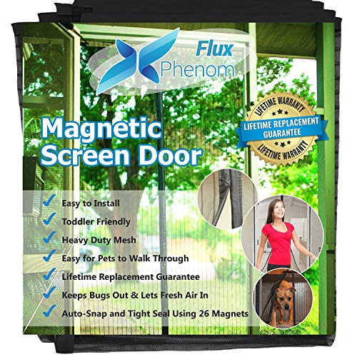 Flux Phenom Reinforced Magnetic Screen Door, Fits Doors Up To 38 x (Flex Door Stop)