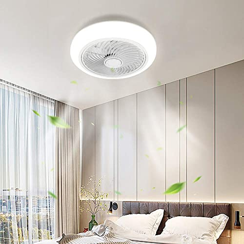 XIYUN Ceiling Light with Fan, Remote Control LED 3 color temperatures, 10-level Dimming 3 Gear Wind Speed Invisible fan light Enclosed Low Profile Fan,Ceiling Fan with Light 17 Inch