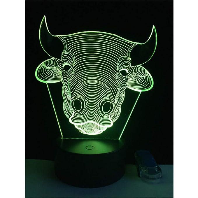 3D LED USB 7 colores RGB cambió la lámpara de mesa táctil ...