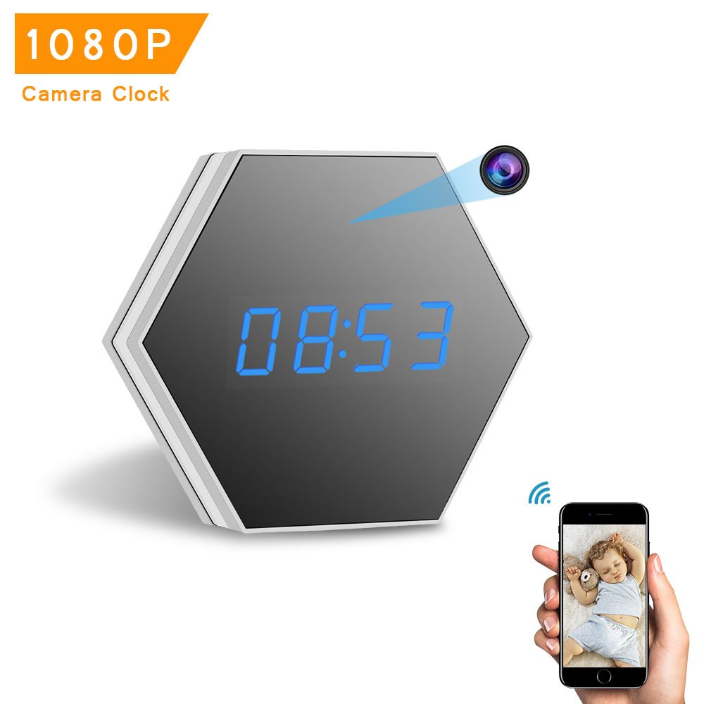 Mini Camera Clock-ENKLOV HD 1080P WiFi Smart Mirror Clock with Night Vision Two-Way Talk Motion Detection Colorful LED Light,for Wall and Desk,Perfect Gift