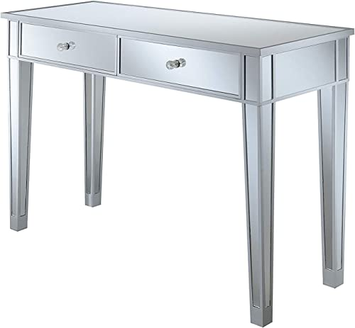 Convenience Concepts Gold Coast Mirrored Desk, Silver Mirror