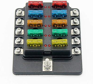 Caja de Fusibles Tenedor del bloque del fusible 10 vías Portafusibles con Lámpara de Alerta LED Kit para Coche Barco Marino Triciclo 12V 24V: Amazon.es: Electrónica
