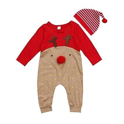 cd7642def152f Noël rayé bébé garçon Grenouillère + Bonnet nouveau-né mignon Vêtements  Tenue Ensemble