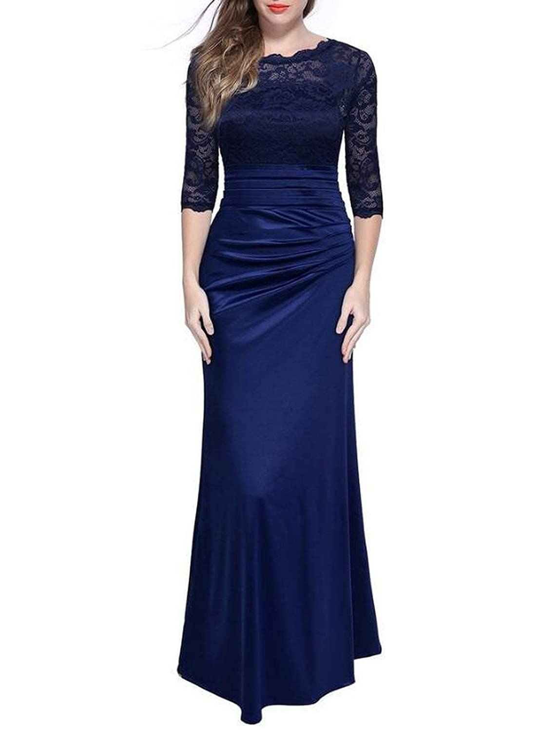 Dark bluee Elegant Lace Hollow Out Embroidery Sleeves Evening Maxi Vintage Party Long Dresses