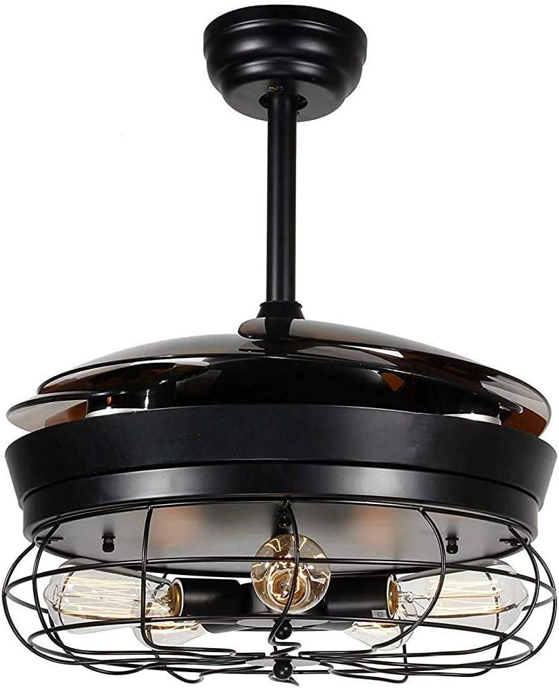 CHEN 42 Pulgadas de Ventilador telescópica Invisible LED luz de Techo, una lámpara retráctil aspas del Ventilador de Techo 4, de la Pared de Control Remoto Industrial,Black