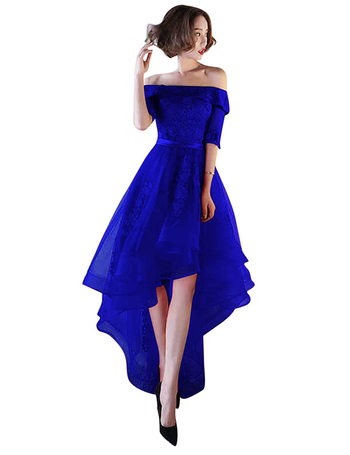 Royal bluee BessWedding Women's Tulle High Low Homecoming Dresses Short 2018 Formal Prom Gown BHZ707