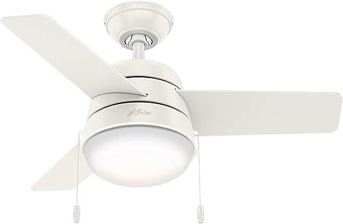 Hunter Fan Company 59301 Hunter 36 Aker Fresh White Ceiling Fan with Light