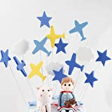 30 Pieces Blue Airplanes White Cloud Cake Cupcake Toppers for Baby Shower Birthday Party Favors