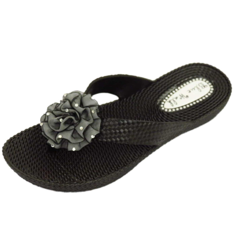 Damen Flach Schwarz Zehensteg Riemen Sandalen Flip Flop Strand Blume Keilabsatz Schuhe Größen 3-8 - Schwarz, EU 37