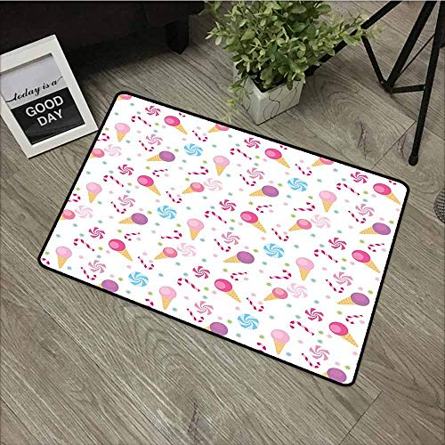 - LOVEEO Rubber Doormat,Kids Sweets Pattern with Ice Cream Cones and Candy Stars Design Abstract Desserts Food,All Season Universal,24
