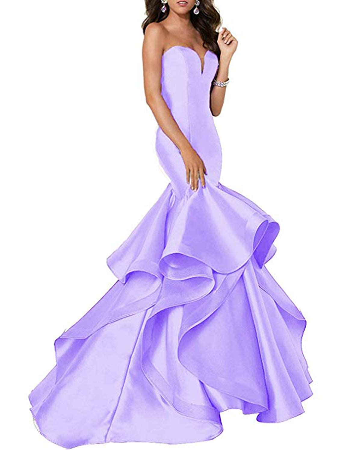 Light Lavender Scarisee Women's Sweetheart Mermaid Prom Evening Party Dresses Tiered FormalSA51
