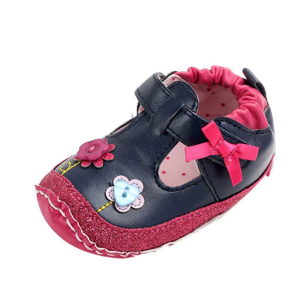 Baby Girls Flower Button First Walkers Soft Sole Casual Shoes