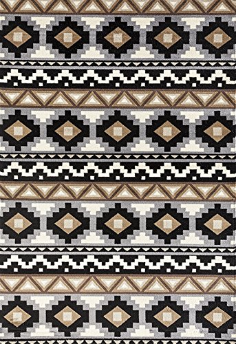 (ADGO Medeo Collection Modern Ethnic Anatolian Kilim Motifs Bohemian Geometric Live Multicolor Design Jute Backed Turkish Area Rugs High Pile Well Spaced Soft Indoor Floor Rug, Black Tan, 3'7