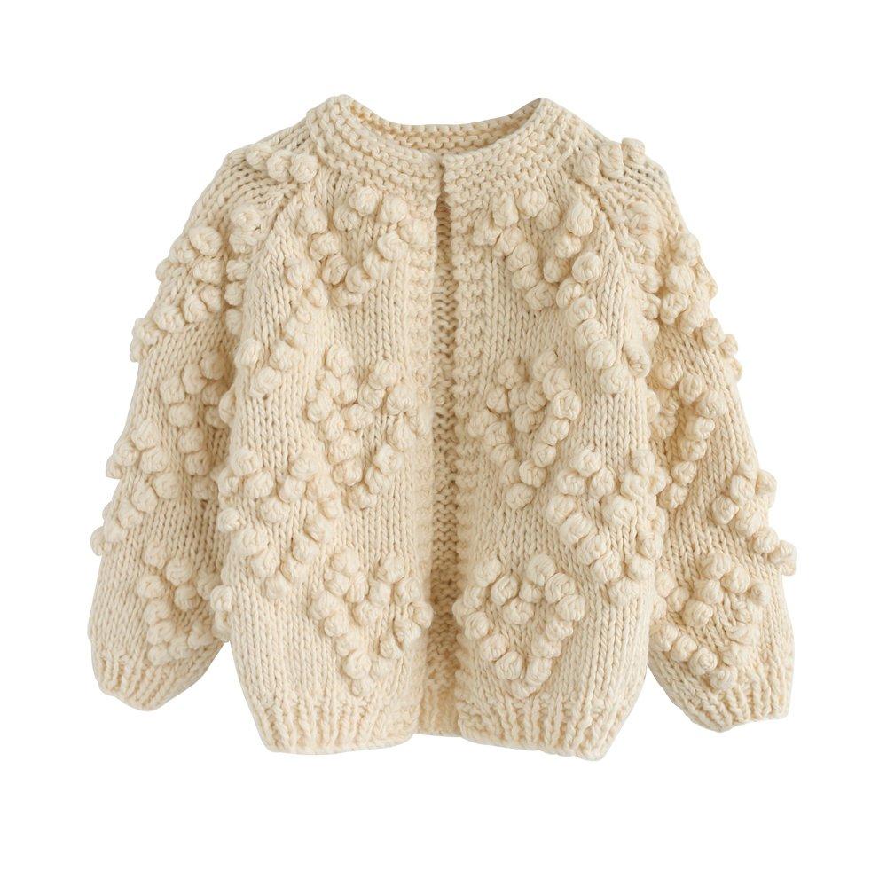 Chicwish Girl's Soft Heart Shape Balls Hand Knit Long Sleeve Ivory Beige Sweater Cardigan Coat, Ivory, 5-6YR (116cm)
