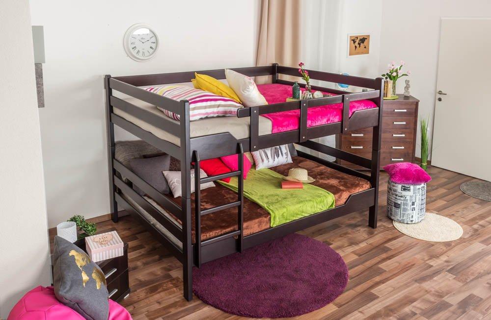 Etagenbett Stockbett Easy Premium Line  K16 n, Kopf- und Fußteil gerade, Buche Vollholz massiv Schokobraun- Liegefläche  160 x 200 cm, teilbar